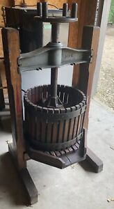 Antique Wooden And Cast Iron Wine Fruit Press With Authentic Stenciled Design $705.00