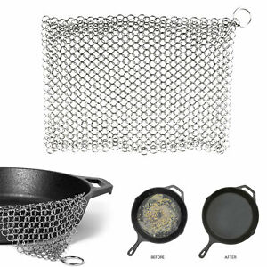 Stainless Steel Cast Iron Cleaner Chainmail Scrubber Home Cookware Kitchen Tool
