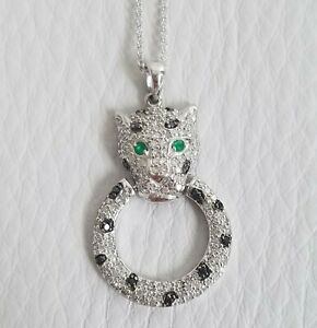 EFFY SIGNATURE 14K WHITE GOLD DIAMOND EMERALD PANTHER PENDANT 0.74 TCW