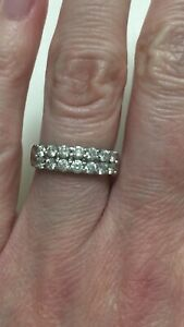 14k White Gold Double Row Diamond Wedding Anniversary Band Size 4.5 .85ct