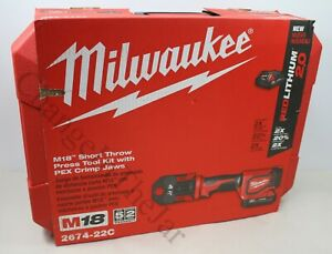 Milwaukee 2674-22C M18 Short Throw Press Tool Kit with PEX Crimp Jaws - New