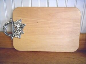 Wood Cutting & Serving Board with Silver Toned Grapevine Handle