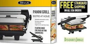 BELLA 13267 Electric Panini Maker Press and Sandwich Grill, Stainless Steel-NEW-