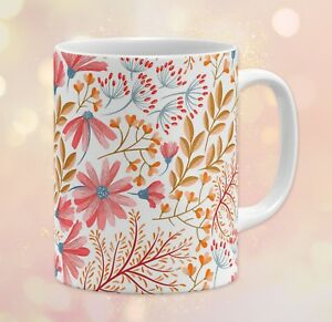 Pattern Floral Flowers Leaves Warm Colors Gift 11 oz Ceramic Coffee Mug
