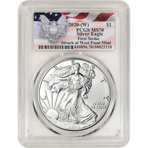 2020 W American Silver Eagle PCGS MS70 First Strike Red Flag Label