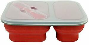 Reusable Silicone Collapsible Double Compartment Lunch Container Kitchen Works
