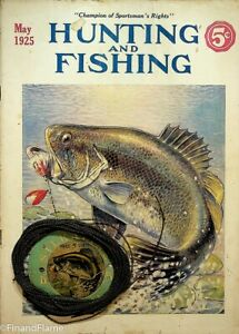 Antique Fishing Line Card Duo with Vintage National Sportsman Magazine SJE161