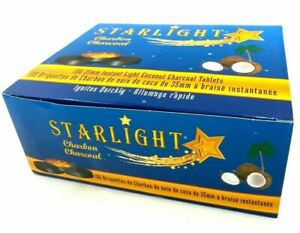 100ct STARLIGHT COCONUT SHELL 35 mm Instant Charcoal Incense frankincense Hookah