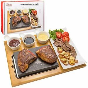 Cooking Stone Plate Tabletop Grill Complete Set With Ceramic Side Dishes