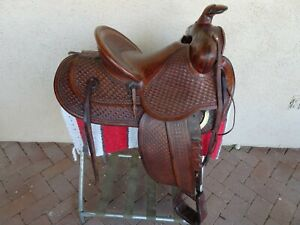 POWDER RIVER WESTERN TOOLED LEATHER DENVER DRY GOODS COMPANY HIGH BACK SADDLE