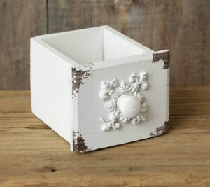 New Shabby White French Chic Chippy Drawer Box Vintage Style Wood Cottage 4quot; T
