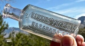 ca 1900s PASADENA CALIFORNIA ROSE BOWL LA RARE HAWKINS PHARMACY DRUG BOTTLE