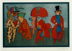 Mihail Chemiakin signednumbered lithograph 1979 Carnival (hc 225) 26 x 17 in