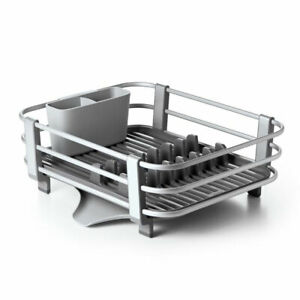 Oxo Good Grips Large Aluminum Sink Dish Rack Drying Tray Drainer Gray Open Box $40.49