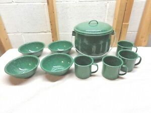 Cookin' The American Way Green Enamel Camp Chili Set~New!