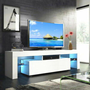 63quot; Modern TV Stand Cabinet Furniture Console White w LED Shelves 2 Drawers