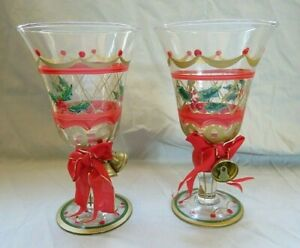 Vintage Hand Painted Christmas Wine Stems Pair