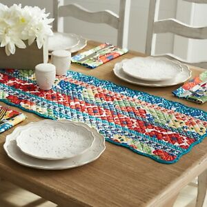 The Pioneer Woman Dazzling Dahlias Quilted Table Runner, 14