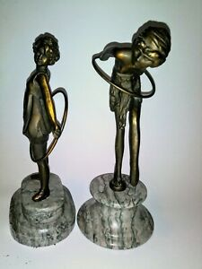 Pair Of Bronze Tone Metal Sculptures Dancing Lady Girl With Hoops Gypsies $49.99