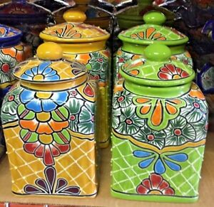 TALAVERA MEXICAN POTTERY - SQUARE CANISTER SET OF 3 (H&A)  ***FREE FREIGHT***