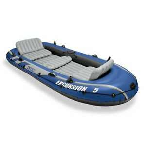 Intex Excursion 5 Person Inflatable Fishing Boat Set w 2 Oars Air Pump Used
