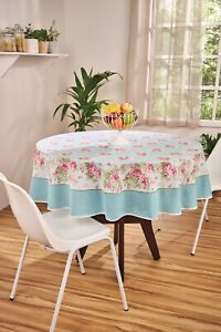 Blue tablecloth with Pink Roses Printed Floral Cotton Round rectangle