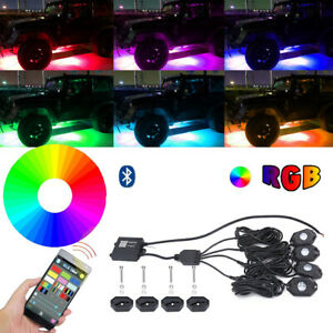 4Pods RGB LED Rock Light Kit Bluetooth Controlamp;Music Mode Under For SUV Truck $59.29