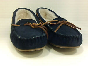 Minnetonka Womens Lodge Trapper Fur Closed Toe Slip On Slippers, navy, Size 10.0