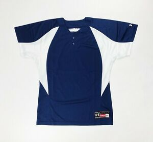 Under Armour Stock Two Button Baseball Jersey Mens Medium Navy Blue White $17.60