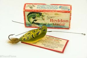 Vintage Heddon Weedless Widow Minnow Rare Insert Antique Fishing Lure in Box RS9