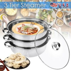 3 Tier Stainless Steel Steamer Meat Vegetable Cooking Steam Pot Kitchen Tool USD