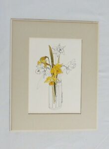 DAFFODILS by Mary Lou Goertzen Collectible Color Litho Print Yellow Flowers Jar $19.99