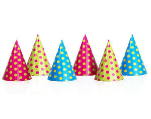 6 Bright Spotty Kids Card Party Hats Kids Birthday Party Hats $3.44