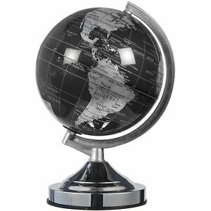 Small World Globe with Lightweight Stand for Home and Desk Decor Black 8 in