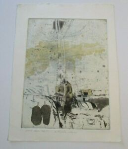 ABSTRACT ETCHING MYSTERY  SIGNED MODERNISM 1960'S EXPRESSIONISM POP VINTAGE ART
