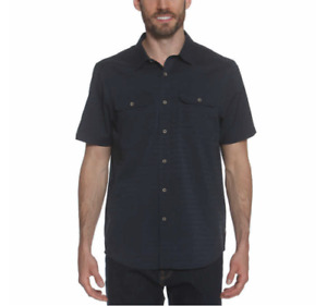 Gerry Mens Short Sleeve Woven Quick Dry Shirt Navy Size L $14.99