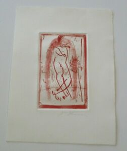 JAMES RISSER ABSTRACT ETCHING MODERNISM 1970'S EXPRESSIONISM VINTAGE NUDE SIGNED