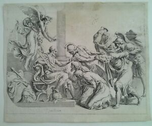 OLD MASTER BAROQUE ETCHING SIGNED GUILO ROMANO LAID PAPER  1600'S