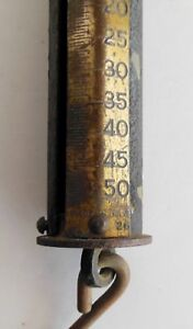 Antique Scale Cast Iron Brass Forschner 50 pounds Hanging Cylinder USA Made Barn $39.95