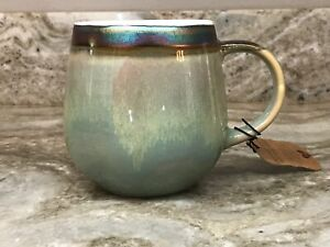 Large Coffee Mug Iridescent Rim Choose Color And Classic Or Belly Shape New.