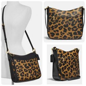 Coach C0205 Chaise Polished Leopard Leather Crossbody Bag in Brown Multi
