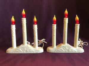 2 Vintage 3 Candle Candelabra Christmas Window Electric Plastic Working w Bulbs