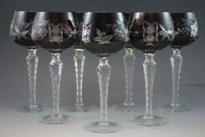 Set of 7 Bohemian Cut Crystal Hock Wine Goblet Glasses Ruby & Amethyst C1910