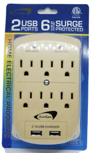 6 Outlet Surge Protector 2 USB Port Wall Charger Adapter Tap Socket - Beige