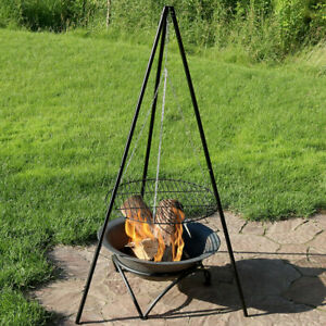 Sunnydaze Tripod with Cooking Grate Outdoor Grilling Set- 22