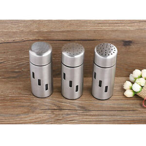 Stainless Steel Salt Pepper Shaker Spice Container Sugar Power Jar 3 Sizes