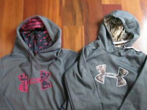 LOT 2 Womens Under Armour Storm1 pull over hoodie jackets gray camo pink black S $18.98
