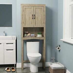 Wooden Over The Toilet Storage Cabinet Space Saver Organizer Bathroom Tower Rack