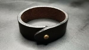 Vintage Texture Genuine Leather Bracelet Men#x27;s darkbrown 8 inch width 0.75 inch