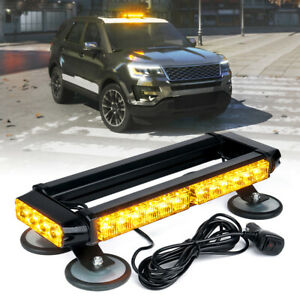 Xprite Amber Yellow 14.5 LED Strobe Light Bar Rooftop Emergency Warning Trucks